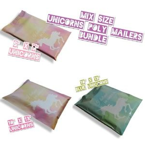 100 Mix Size Unicorns Poly Mailers Variety Pack